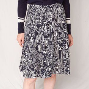Akris Bergdorf Goodman Blue Lady Print Skirt